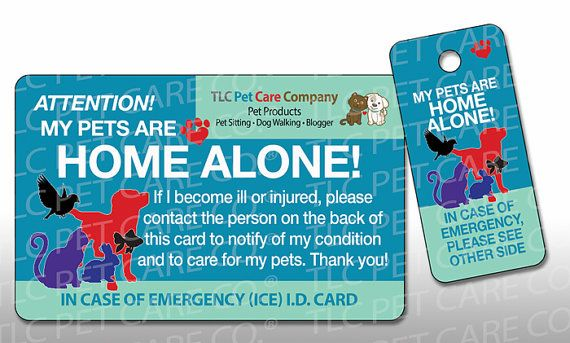 Pet Emergency Card Key Tag In Case Of Emergency Contact Card My Pets Are Home Alone Dog Home Alone Cat Home Alone Plastic Pets In Case Of Emergency Pet Home