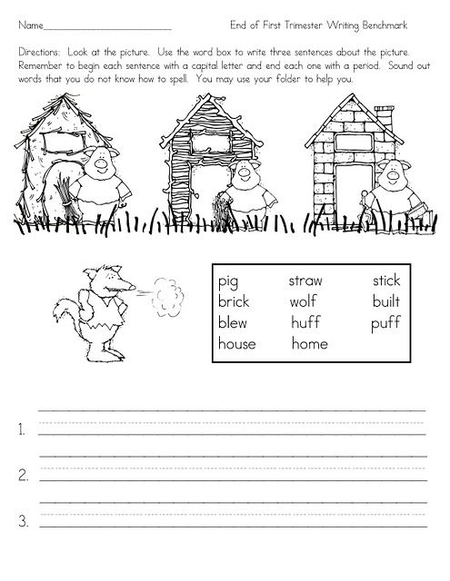 Three Little Pigs sentence writing -- could be used after reading ...