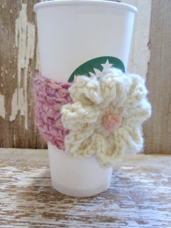 Cherry Berry Cheesecake . . Vanilla Flower crocheted Coffee Sleeve or Tea COZY