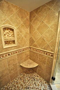 custom shower seat with builtin shelf and custom shower tile
