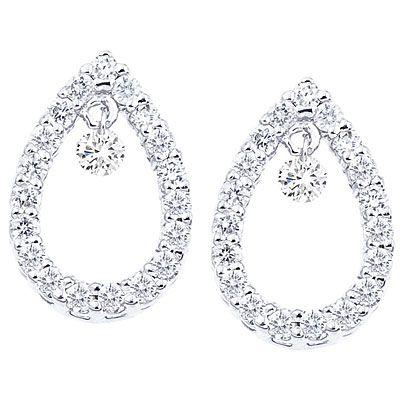 14K White Gold Dashing Diamond Teardrop Earrings