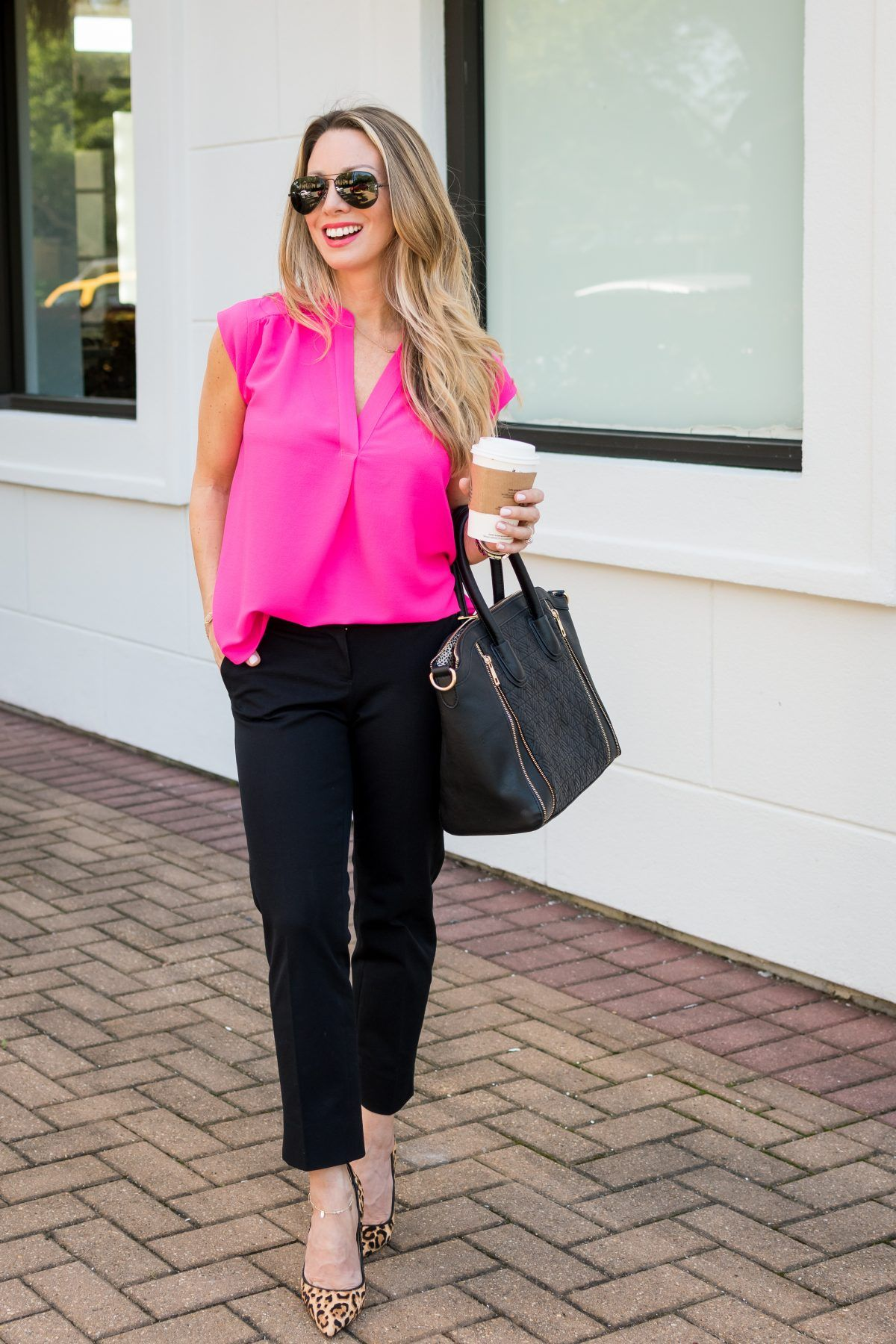 Work Weekend Wow How To Style Your White Blazer For Work Honey We Re Home Pink Top Black Pants White Blazer Women Pink Top Outfit [ 1800 x 1200 Pixel ]