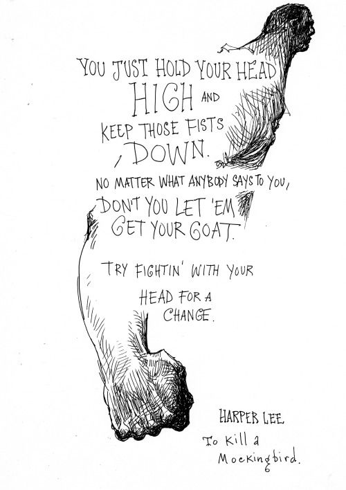 Chris Riddell sketch, Harper Lee quote from To Kill a