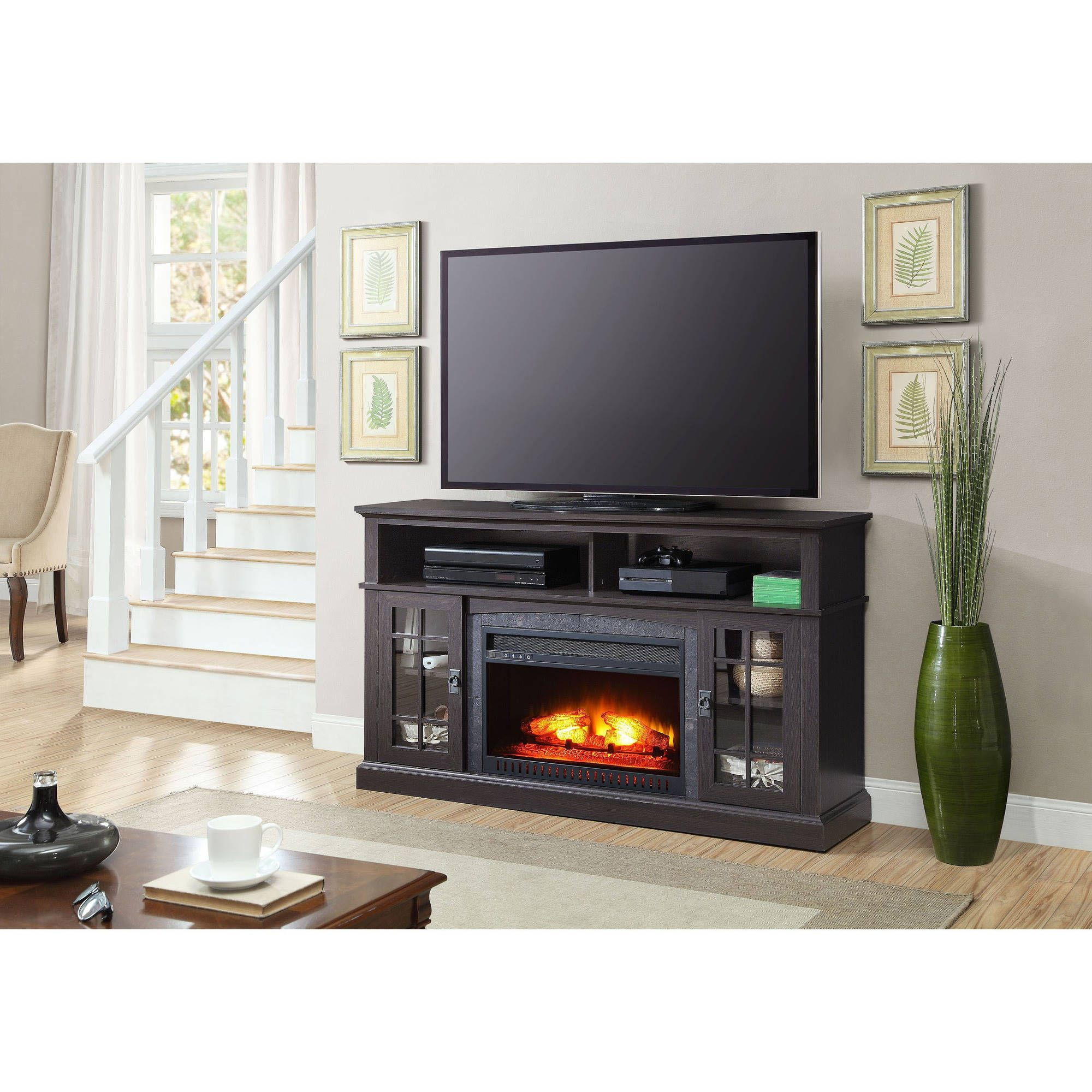Walmart Black Electric Fireplace Whalen Barston Media Fireplace For Tv S Up To 70 Multiple Finishes