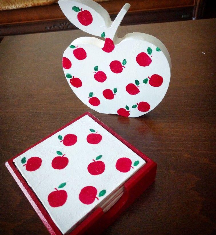 Wood Painting Ahsap Boyama Bana Bardak Altligi Coaster Red Apple Kirmizi Elma Bardak Altligi Ahsap Desenleri Elma Boyama