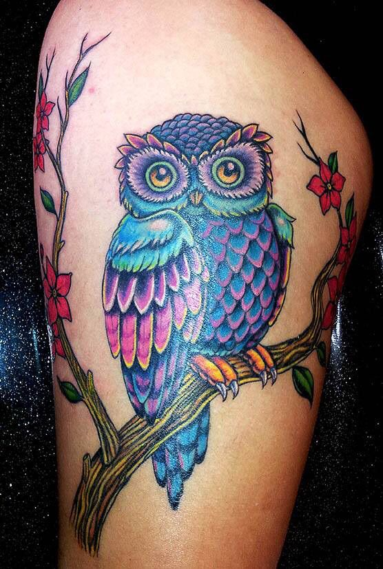 More Colorful Owl With Cherry Blossoms Tattoos Owl Tattoo Body Art Tattoos