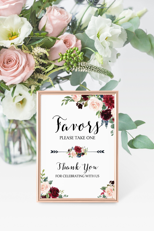 Wedding Favor Sign • Burgundy and Navy Wedding Wedding Favor ...