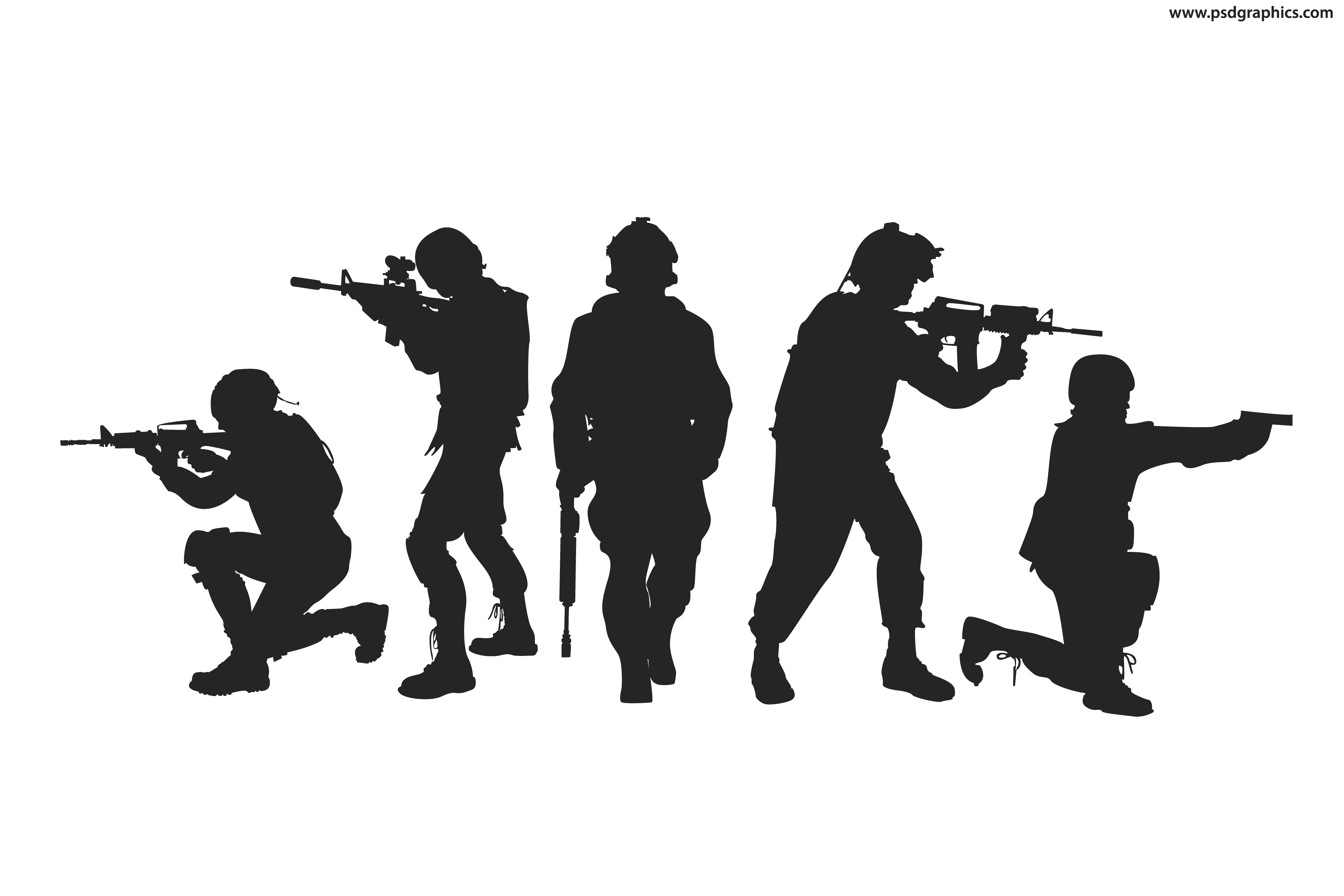 Silhouette Soldier Military Army Silhouettes Vector Png Free Library