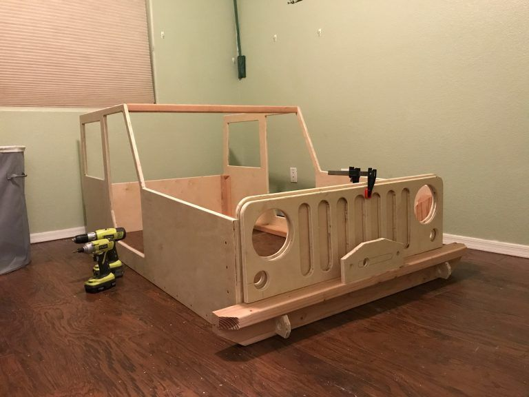 On The Joys Of Building A Jeep Shaped Kid S Bed Woodworkers