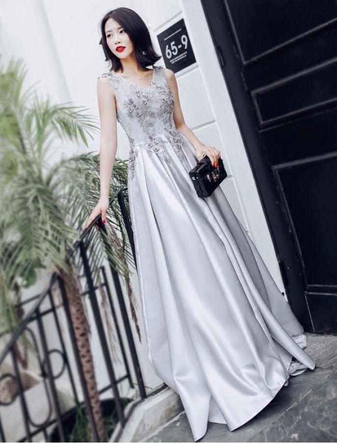 50s Inspired V Neck Floral Lace Evening Prom School Formal Dress ...