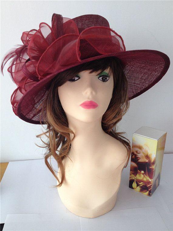 92979b04ce3da 2014 Newest Women s Sinamay Maroon  Burgundy by derbychurchhats ...