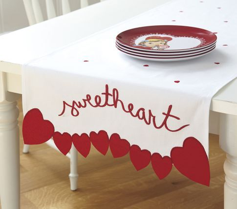 sweetheart edging on red dotted table runner