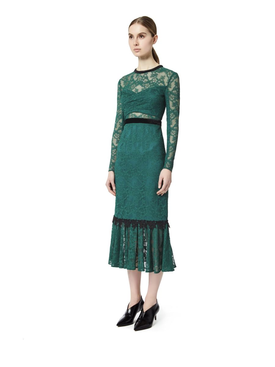caa1b32064f Cut from green floral lace with black lining