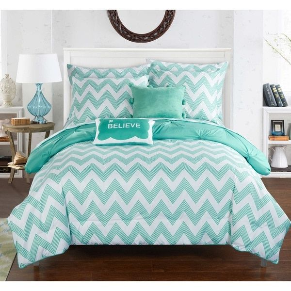 Chic Home Foxville Aqua 9 Piece Bed In A Bag With Sheet Set