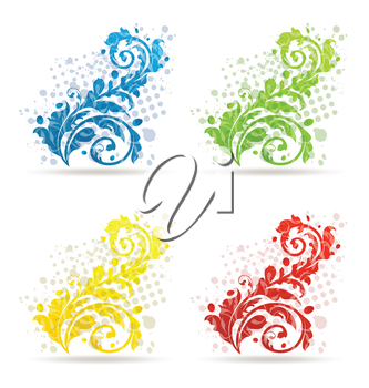 Illustration four seasonal floral colorful set isolated - vector