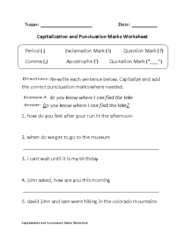 capitalization and punctuation marks worksheet part 1 board real estate. Black Bedroom Furniture Sets. Home Design Ideas