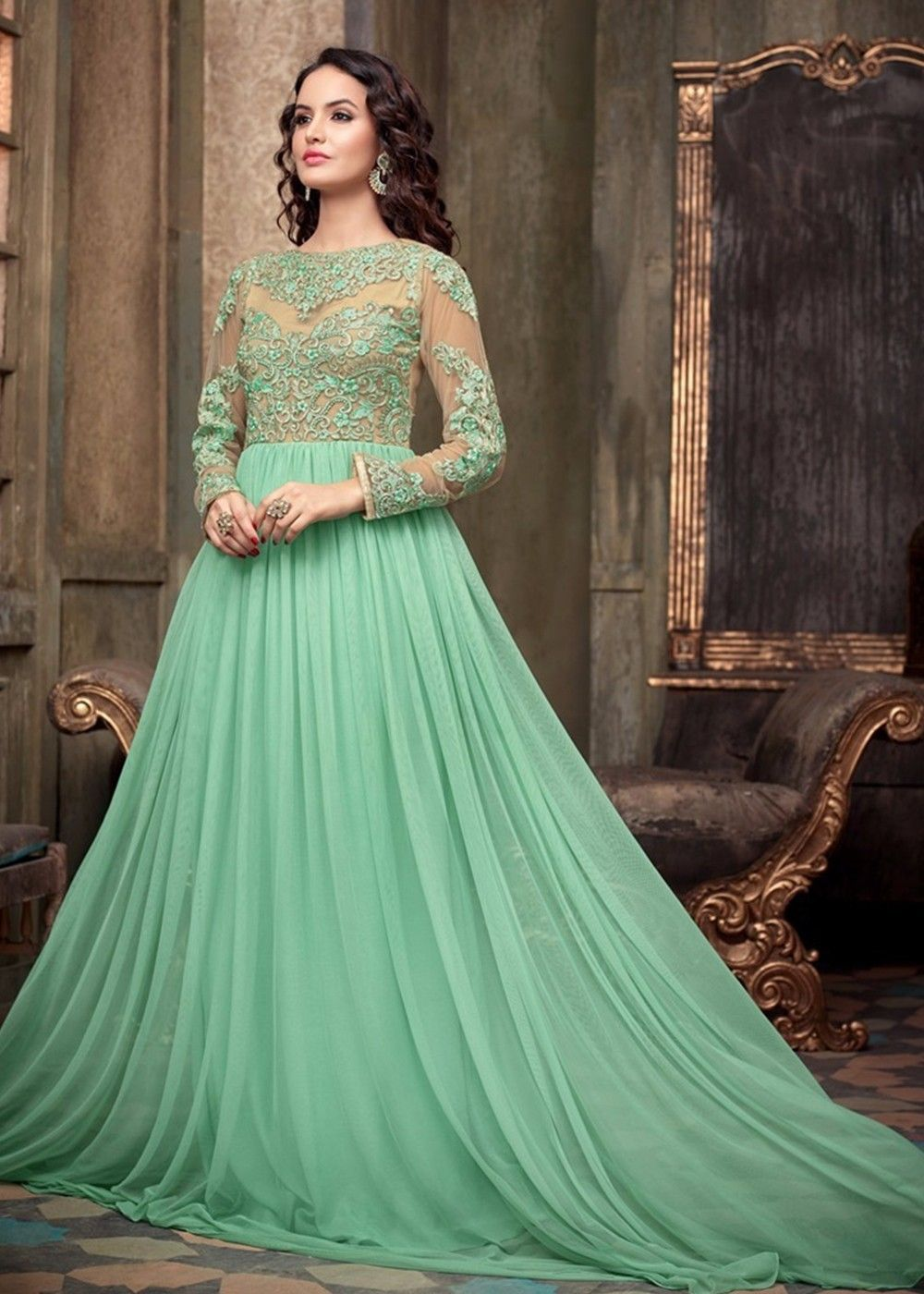 Maisha Crush Stunning New Party Wear Green Net Designer Dress ...