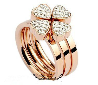 Top Fashion FF Lucky Four Leaved Clover 14K Rose Gold Plated Three In One Rings