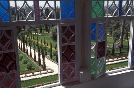 view from stained glass windows at the Mansion of Bahji