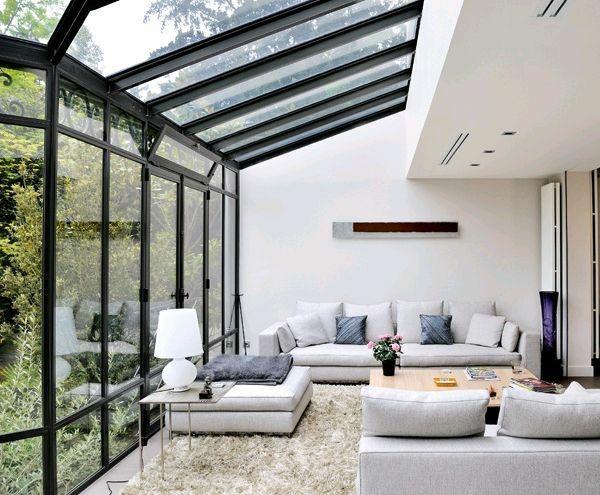 Terrassengestaltung Bilder Terrassenüberdachung Glas Wintergarten Einrichten