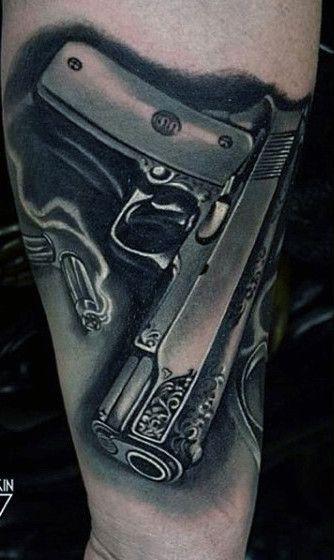580b0cebf 50 Gun Tattoos For Men - Explosive Bullet Design Ideas | Gunz ...