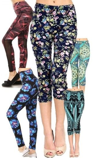 Yoga Leggings Floral Stripes Modern Look Stretch Pants Capri Pants Stretchy Fabric Chic Look Cheap Savings Affordable Leggings #ad #gift #ShopStyle