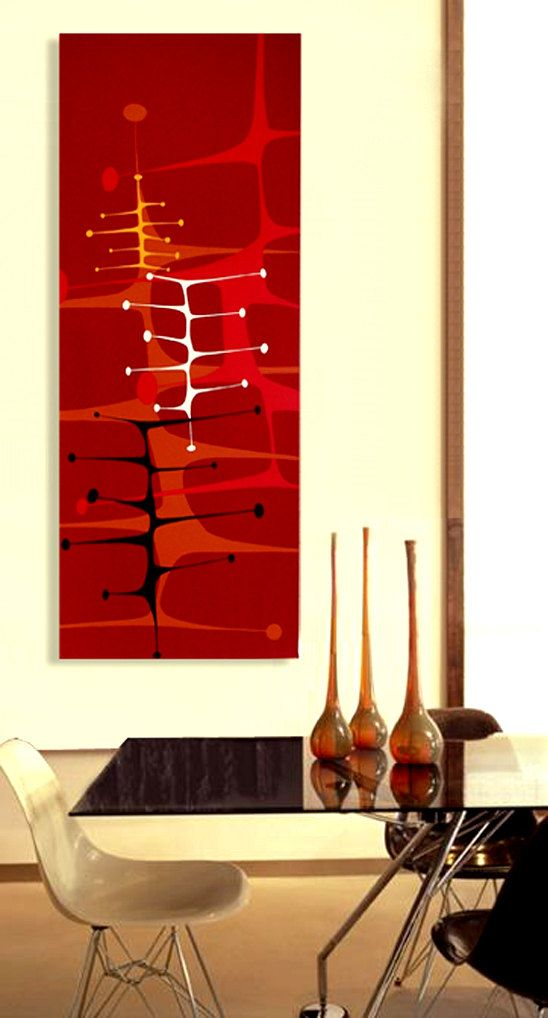 Mid Century Modern Retro Modern Tiki Danish Modern 4ft X 18in Painting  Googie Space Age.