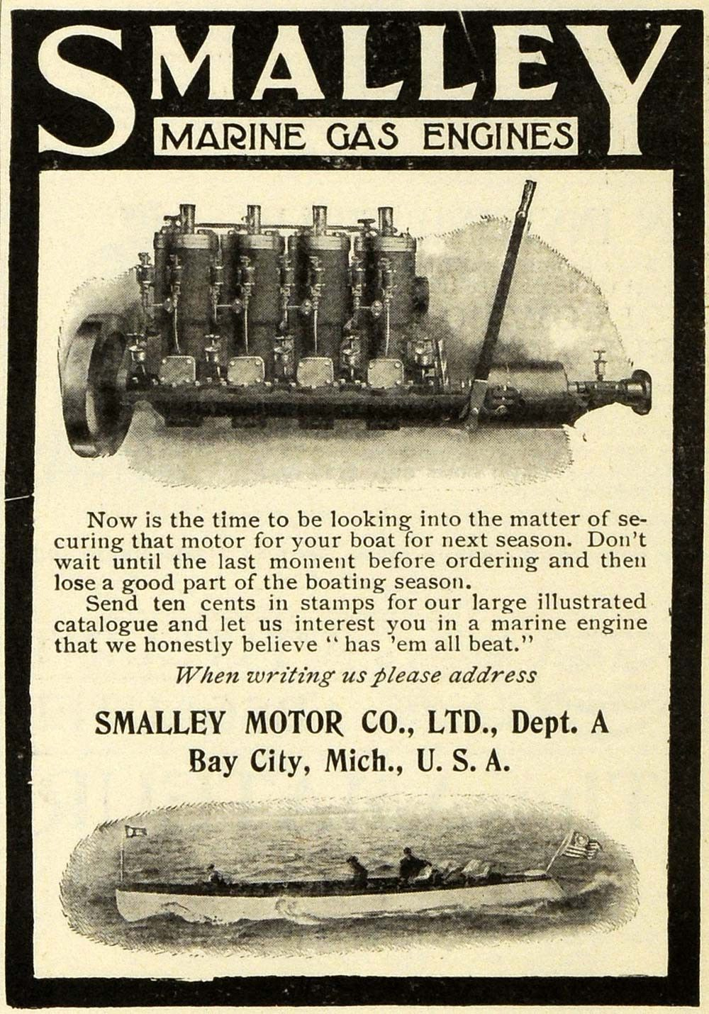 Bay City Motors >> 1906 Ad Smalley Marine Gas Engines Boats Parts Bay City