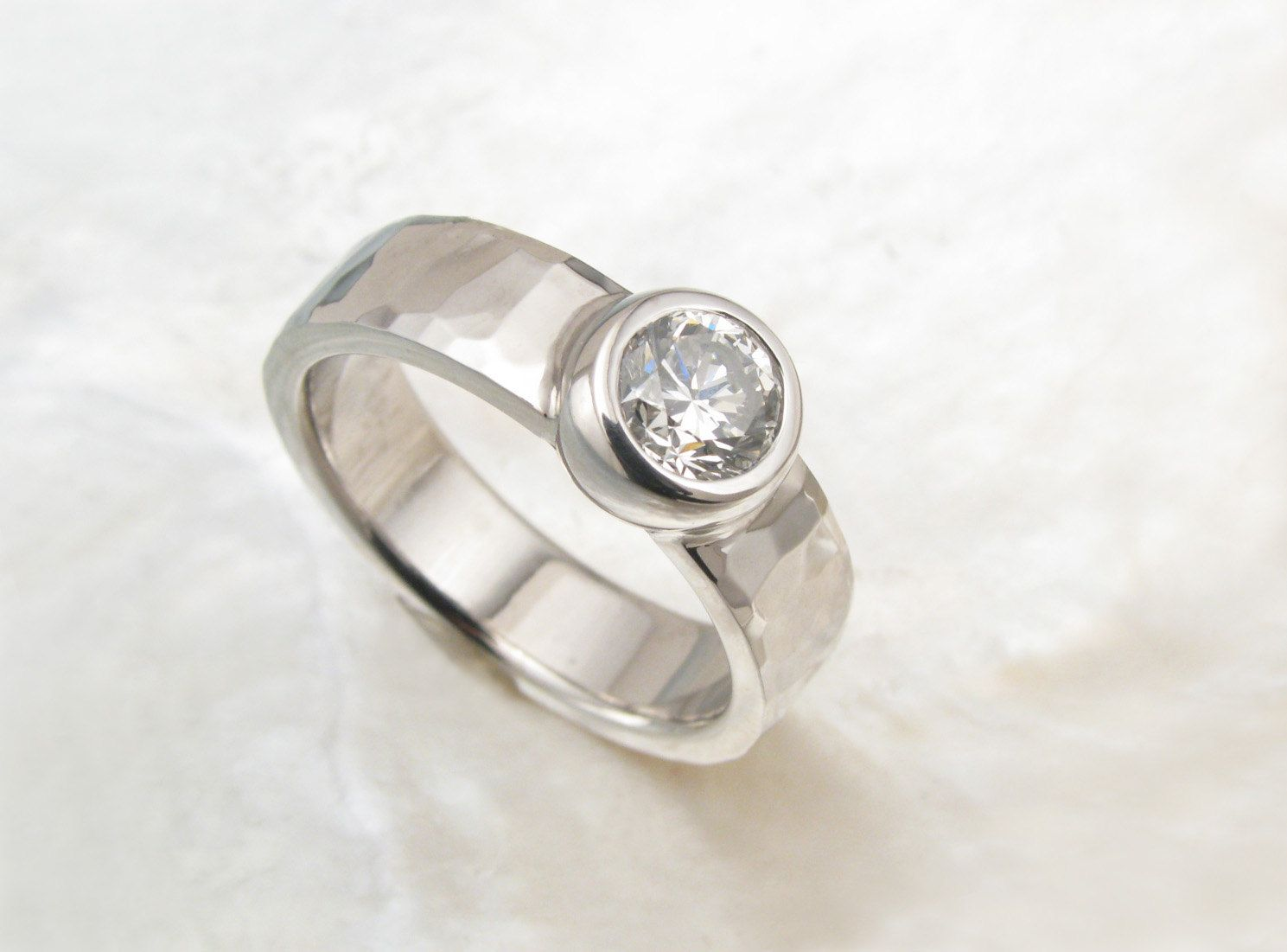 Handmade Bezel Diamond Engagement Ring With 14k White Gold Hammered Band  $2,72500, Via Etsy