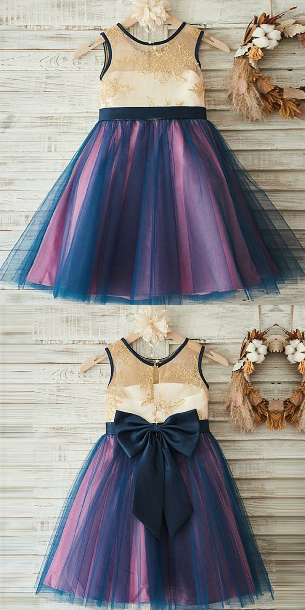 d919d0eb0 A-Line Round Neck Dark Blue Flower Girl Dress with Lace Bow