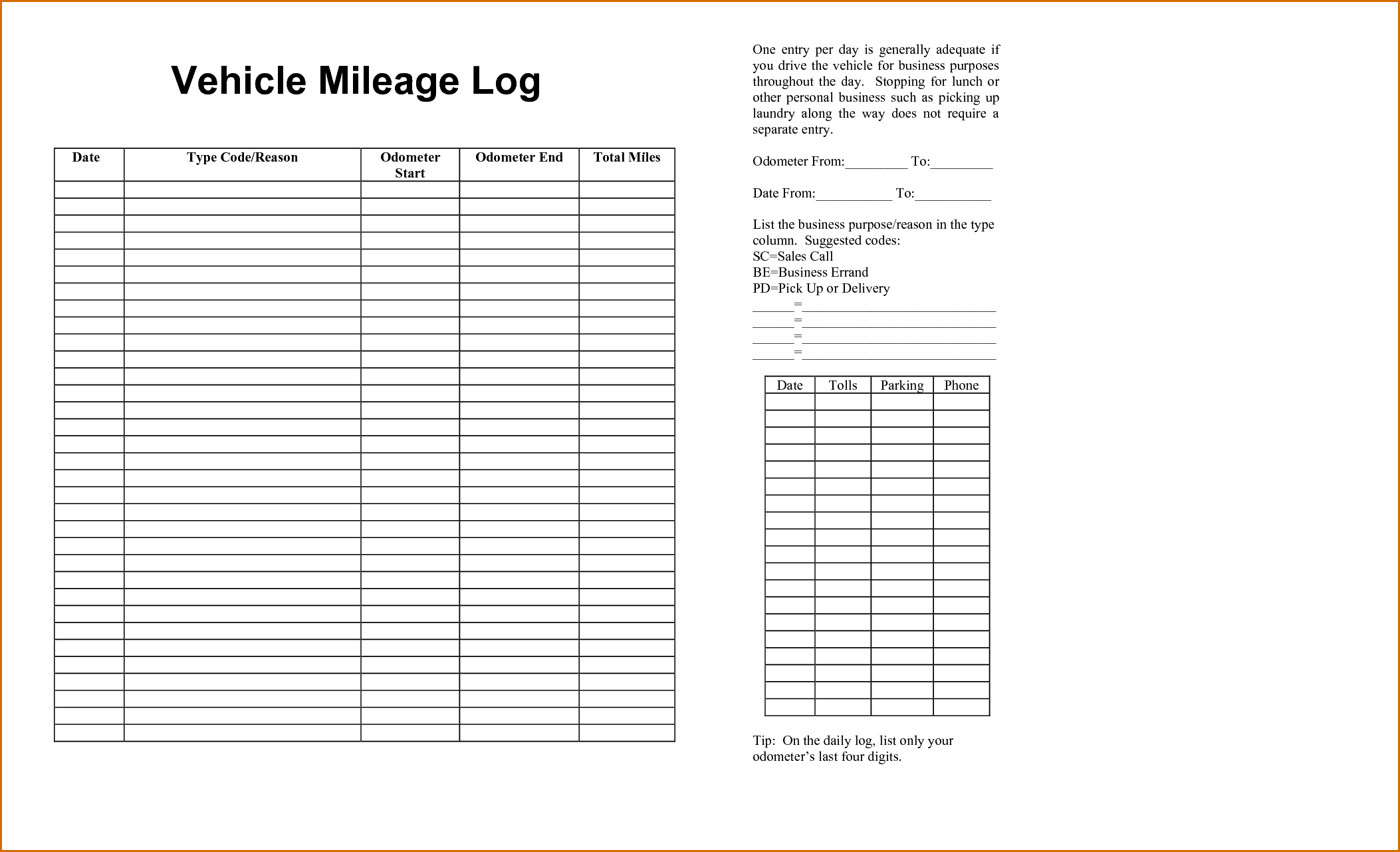 New Free Mileage Log Templates Exceltemplate Xls