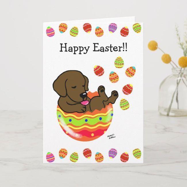 #Sponsored,  #Puppy #Labrador #Holiday #Cartoon  #Ad #Chocolate #Labrador Easter Egg Chocolate Labrador Puppy Cartoon Holiday Card ,
