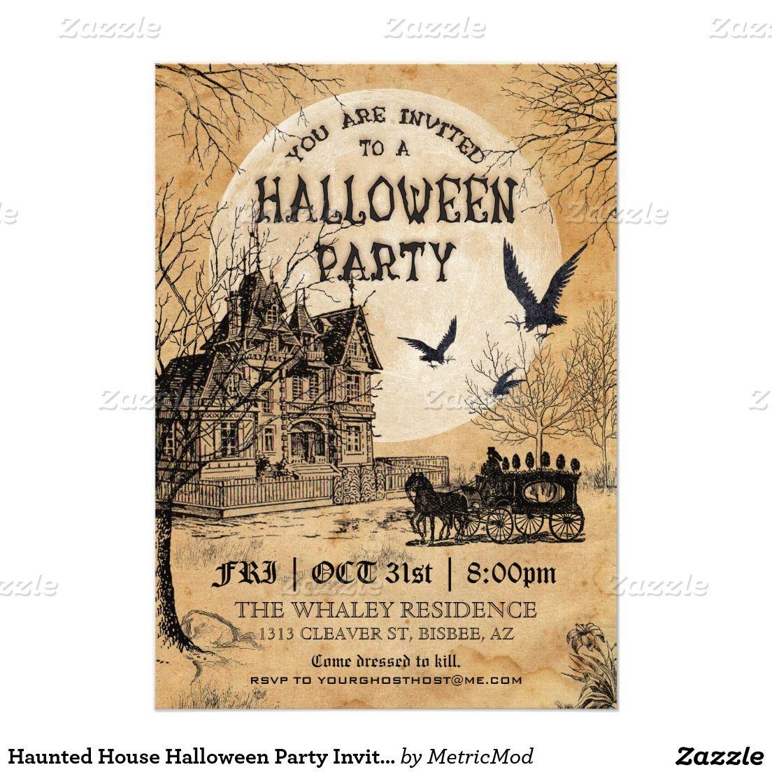 Haunted House Halloween Party Invitation has a retro vintage look ...