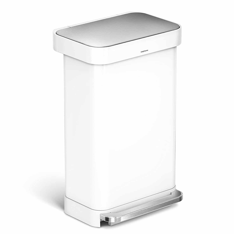 Simplehuman liner rim rectangular step trash can kitchen tops