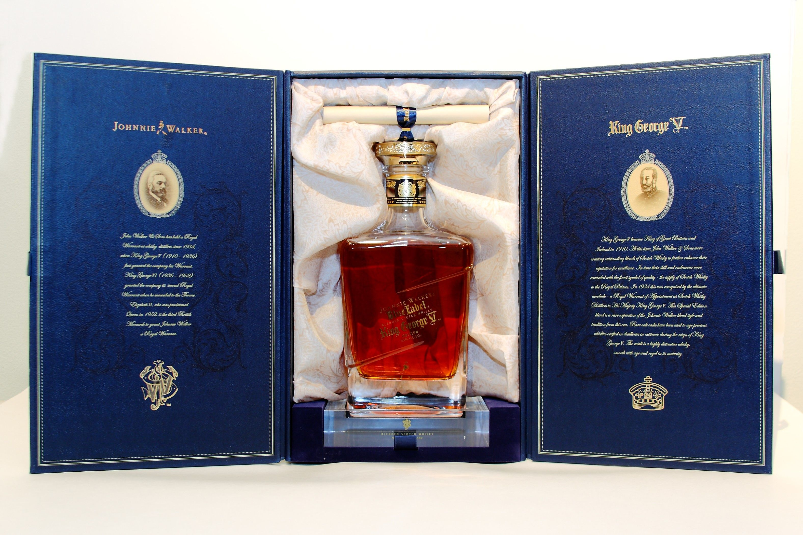 A Bottle Of Johnnie Walker Blue Label King George V Edition In Its Elaborate Packaging Johnnie Walker Blue Johnnie Walker Johnnie Walker Whisky