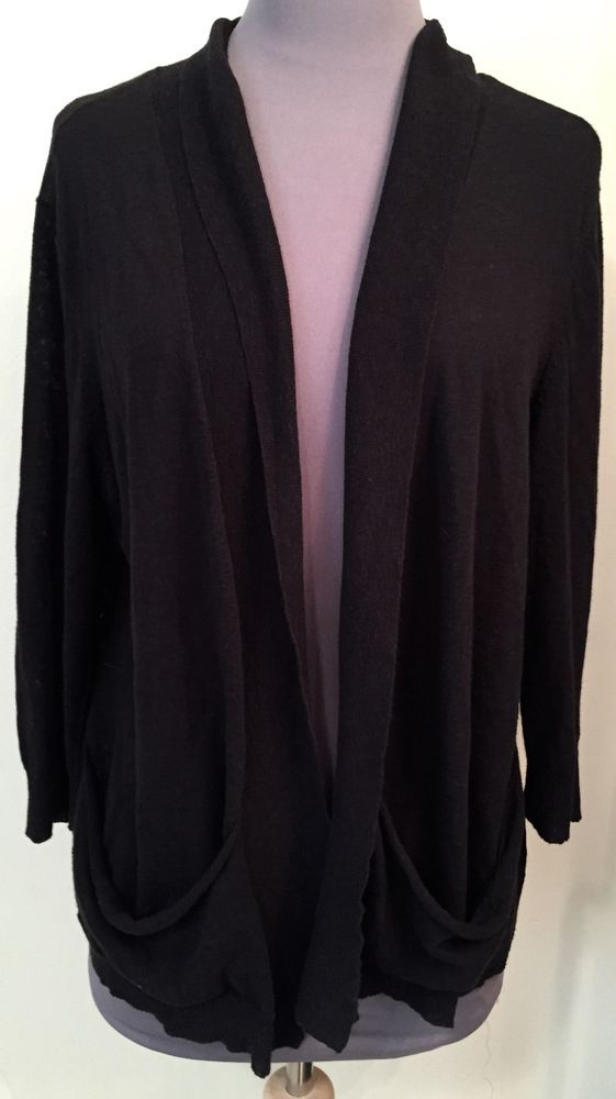 EILEEN FISHER Size Large Black knit open style Cardigan Cotton / linen blend #EileenFisher #Cardigan
