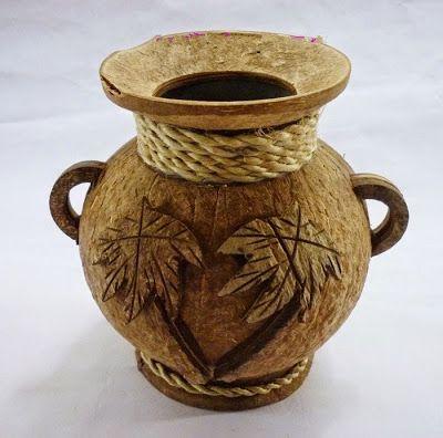 Vas Bunga Dari Batok Kelapa Kelapa Kreatif Kerajinan Tangan