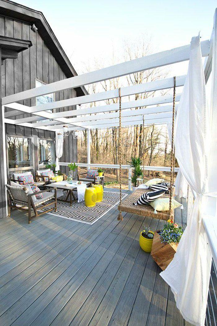 Pergola En Bois Customisee Amenagement Terrasse Idee Amenagement Terrasse Salon De Jardin