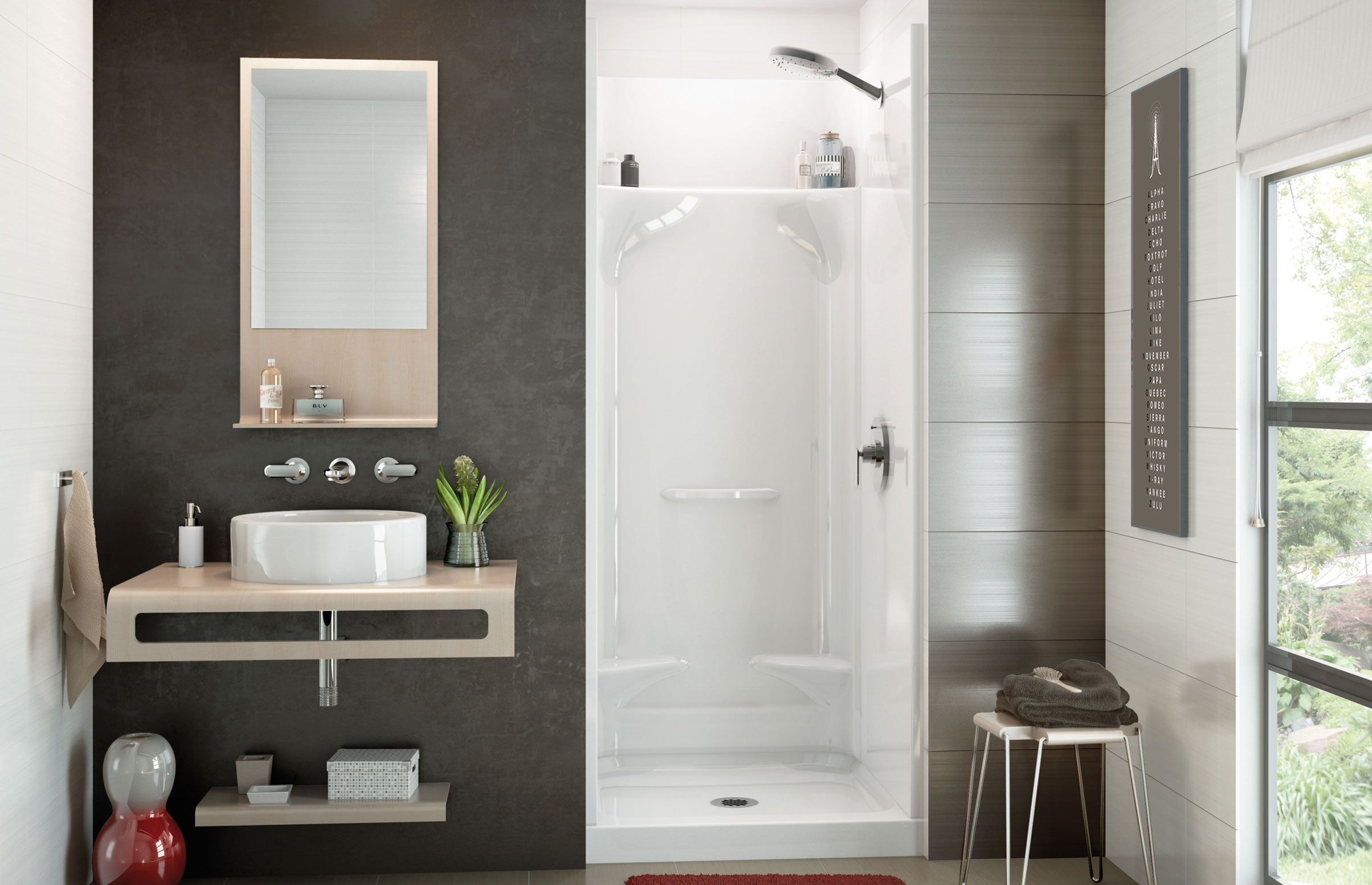 Essence Sh 3232 Alcove Showers Maax Bath Inc Shower Cabinets Fiberglass Shower Tiny Bathrooms