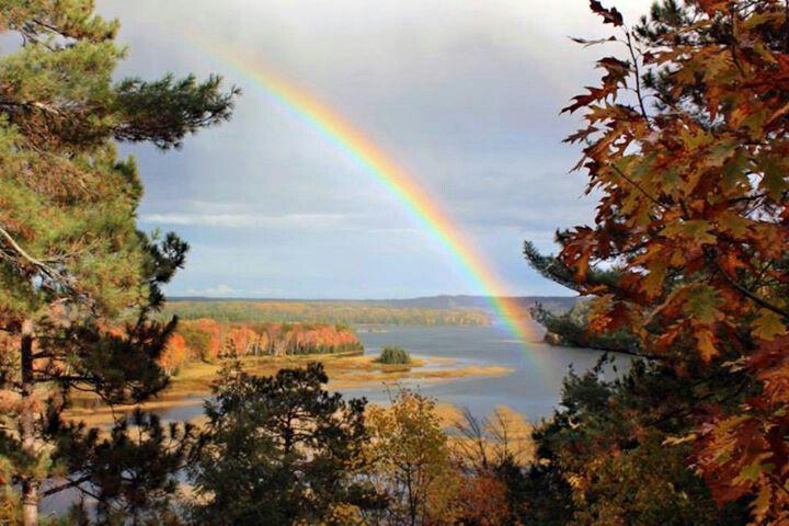 Fall rainbow over the Au Sable river, MI