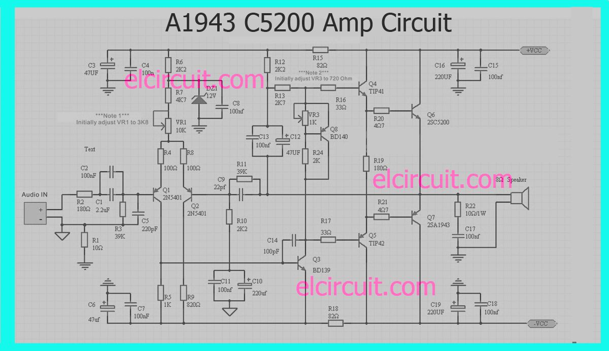 A1943 C5200 Power Amplifier circuit | A1943 C5200 | Audio