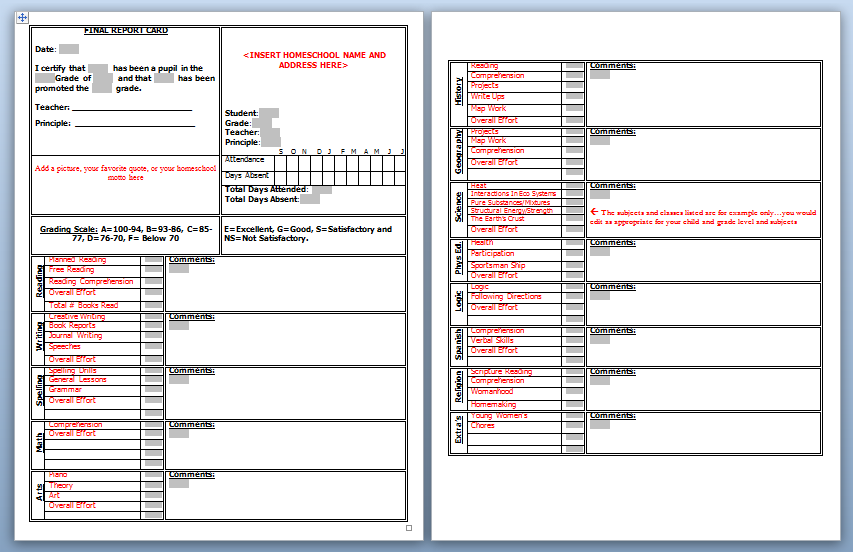 Download: Homeschool High School Report Card Template | School ...