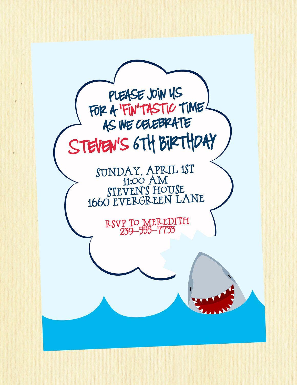 Happy Shark- Birthday Party Invitation, 5x7, personalized and ...