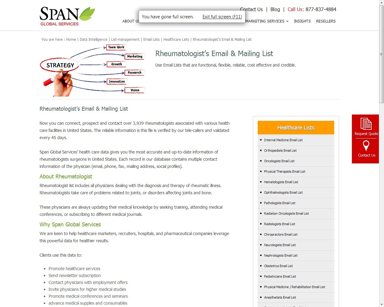Span Global Services Offers Rheumatologists Email Lists Which