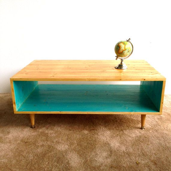 Handmade Coffee Table Mid Century Modern Turquoise Or Custom Color And Summer Blonde Mcm Furniture