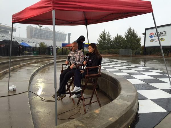 Early, rainy wake up call for interview with Fox and Friends on 3/1/2015 prior to the Folds of Honor QuikTrip 500 at Atlanta Motor Speedway, 3/1/2015.