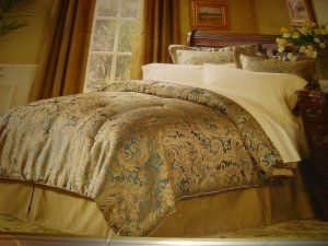 Queen Bedding Gold And Teal Raymond Waites Comforter Set 4