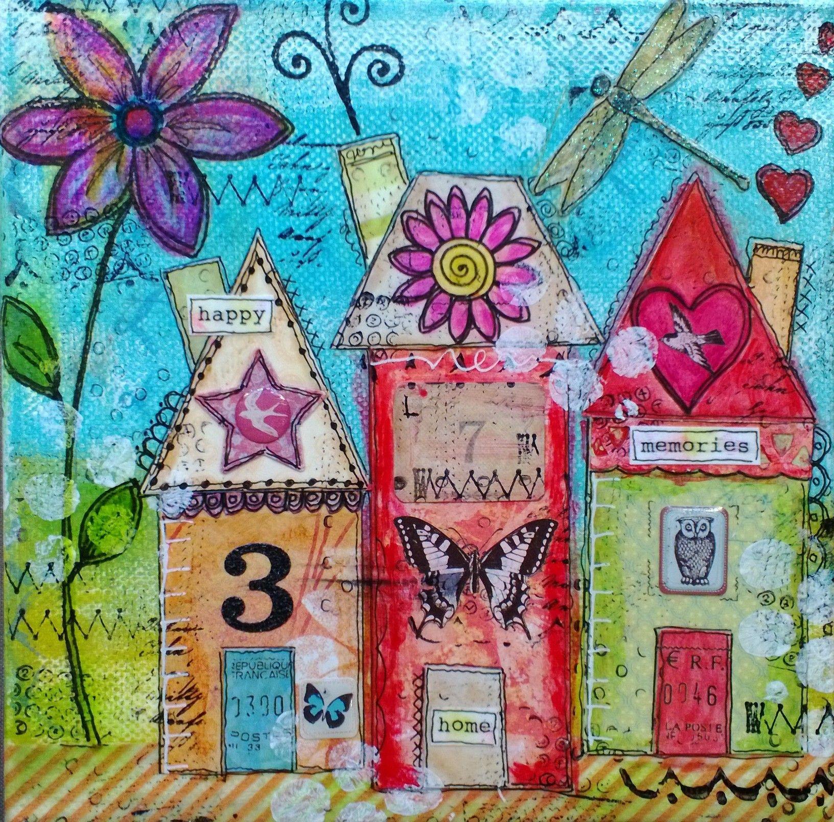 Houses mixed media collage canvas mixed media art