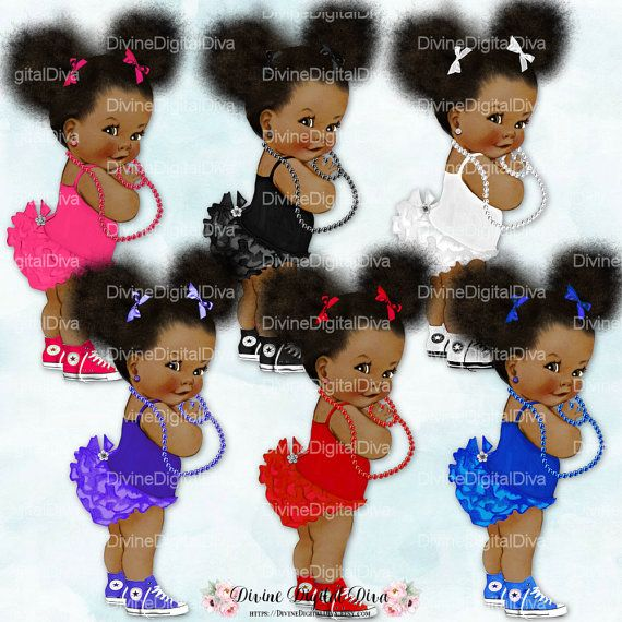 African American Skin Tones Afro Puffs Bun Princess Ruffle Pants Pink /& Gold High Top Sneakers Crown Pearls Clipart Instant Download