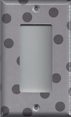 Silver Charoal Gray/Grey Polka Dots Hand Made Light Switch Plates & Outlet Cover